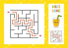 Maze. Game for kids. Funny labyrinth. Education developing worksheet. Activity page. Puzzle for children. Cute cartoon style. Riddle for preschool. Logical stock illustration
