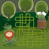 Maze game for kids. Help red Leprechaun to find his way to the green beer. Maze game for kids with gnome and green beer. Help red Leprechaun to find his way to Stock Photo
