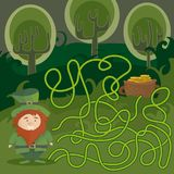 Maze game for kids. Help red Leprechaun to find his way to the pot of gold. Maze game for kids with gnome and pot of gold. Help red Leprechaun to find his way Royalty Free Stock Photos