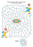 Maze game for kids - little clowns. Maze game or activity page for kids: Help the clowns to get to the circus arena. It is their turn to perform! Answer included Stock Photos