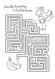 Maze game for kids with monkey and banana. Royalty Free Stock Images