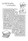 Maze game for kids with monkey and books. Lets help this monkey to find his way to the books. Vector template page with game Royalty Free Stock Images