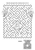 Maze game for kids - owls trim the christmas tree. Maze game and coloring page: Help the owls get to the christmas tree to trim it. Answer included. n royalty free illustration
