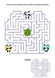 Maze game for kids - panda bears Royalty Free Stock Photo