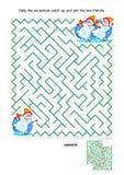 Maze game for kids - playful skating snowmen stock illustration