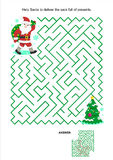 Maze game for kids - Santa deliver the presents. Maze game or activity page for kids: Help Santa to deliver the sack full of presents for children. Answer royalty free illustration