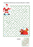 Maze game for kids - Santa and his sack Royalty Free Stock Photos