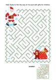 Maze game for kids - Santa and his sack Royalty Free Stock Photos