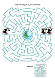 Maze game for kids - skating penguins Stock Images