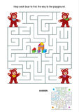 Maze game for kids - teddy bears. Maze game or activity page for kids: Help each bear to find the way to the playground. Answer included Stock Photos