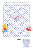 Maze game for kids - Valentine kittens Stock Photo