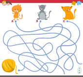 Maze game with kitten characters Royalty Free Stock Images