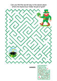 Maze game - leprechaun and pot of gold stock illustration