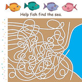 Maze game line fish find sea. This illustration is drawing and design maze game of hell fish find the sea in white color background Royalty Free Stock Photo