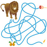 Maze game, lion and food. Royalty Free Stock Image
