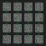Maze Game Logo. Labyrinth with Entry and Exit. Stock Photo