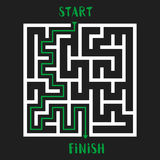 Maze Game Logo. Labyrinth with Entry and Exit. Royalty Free Stock Images