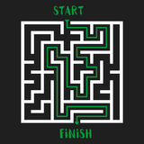 Maze Game Logo. Labyrinth with Entry and Exit. Stock Images
