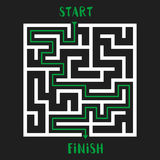 Maze Game Logo. Labyrinth with Entry and Exit. Stock Photos