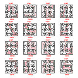 Maze Game Logo Set. Labyrinth with Entry and Exit. Stock Photos