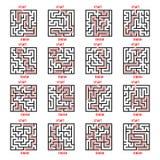 Maze Game Logo Set Labyrinthe avec l'entrée et la sortie Photos stock