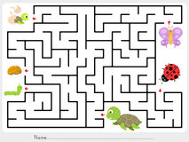 Maze game: Match animal, butterfly ladybug and turtle finding the baby Stock Image