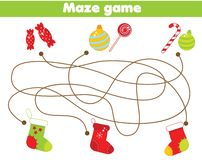 Maze game. Match gifts and socks. Christmas and New Year theme Activity for children and kids.  stock illustration
