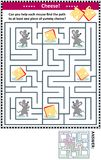 Maze game with mice and cheese. Maze game for children with four mice and four pieces of cheese: Can you help each mouse find the path to at least one piece of Stock Photography