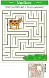 Maze game with milk cow. Maze game: Help the cow find the path to the yummy green grass. Answer included stock illustration