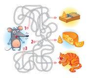 Maze Game mit Lösung Lizenzfreie Stockbilder