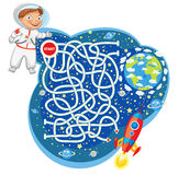 Maze Game mit Lösung Lustige Zeichentrickfilm-Figur Lizenzfreies Stockfoto