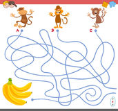 Maze game with monkey characters Royalty Free Stock Images