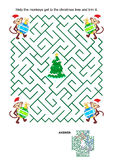 Maze game with monkey Santa helpers, baubles and christmas tree Stock Images