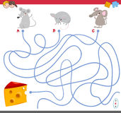 Maze game with mouse characters Royalty Free Stock Image