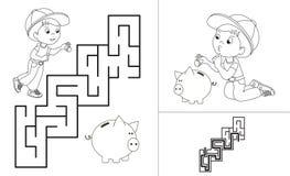 Maze game. One cartoon baby boy Royalty Free Stock Photo