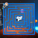 A maze game in the outerspace. With an astronaut and a plane vector illustration