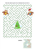 Maze game - owls trim the christmas tree. Maze game or activity page: Help the owls to get to the christmas tree and trim it. Answer included vector illustration