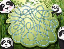 Maze game with panda and bamboo Royalty Free Stock Image