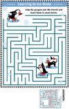 Maze game with penguins learning to ice skate. Winter or holidays themed maze game or activity page with skating penguins: Help the penguin join the friends and Royalty Free Stock Photo