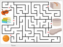 Maze game: Pick violin, books and ball to box royalty free illustration