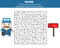 Maze game: postman and post box. Kids activity sheet, printable children Stock Photos