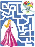 Maze Game: Princess and flowers. Maze Game for girls: Help the princess to find a way to bouquet of flowers Vector Illustration