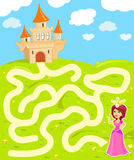 Maze game with princess. Funny maze game: the beauty princess find the way to her castle vector illustration