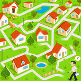 Maze game with real estate agent. Funny maze game: the funny real estate agent find the way to house for sale stock illustration