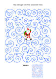 Maze game with Santa in blizzard. Christmas or New Year maze game: Help Santa get out of the snowstorm maze. Answer included stock illustration