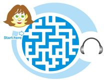 Maze game: secretary and headphones. Maze game for kids: Help the secretary find the way to the headphones Royalty Free Illustration