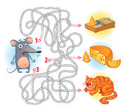 Maze Game with Solution. Help the mouse to find the right way in the maze and get the cheese. Maze Game with Solution. Riddles with tangled lines. Funny cartoon vector illustration
