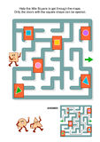 Maze game with square and marked doors Stock Photos
