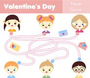 Maze game. St Valentine`s day theme. Kids activity sheet. Help to deliver love letters. Maze game. St Valentine`s day theme. Kids activity sheet. Help children Stock Images