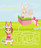 Maze game - sweet girl and Easter Bunny Royalty Free Stock Image